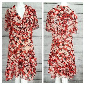 NWT REISS 8 Marseille Floral Ruffle Dress Pleated